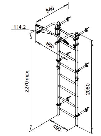 drabinka gimnastyczna Kometa Next-1 rysunek techniczny