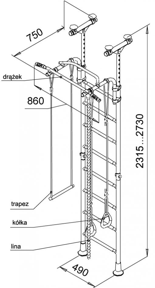 drabinka gimnastyczna Kometa 5 rysunek techniczny