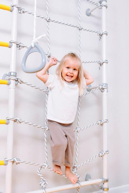 drabinka gimnastyczna Kometa Next 3 prowans dla dzieci z siatką wspinaczkową